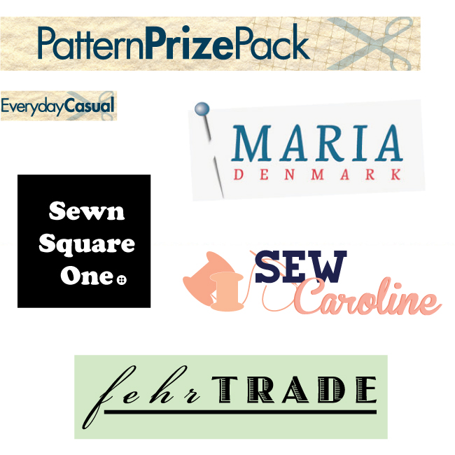 Sewing Indie Month designer prize pack: PDF pattern of your choice from Maria Denmark, Sew Caroline; PDF Duathlon Shorts by Fehr Trade; paper pattern of your choice from Sewn Square One