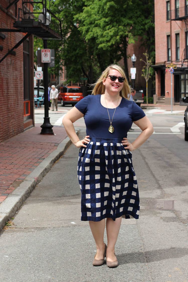 Navy Gingham Skirt 2