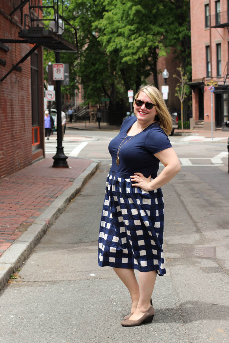 Navy gingham midi skirt