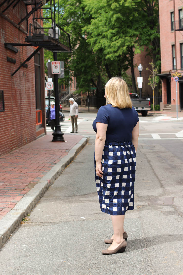 Navy Gingham Skirt 4