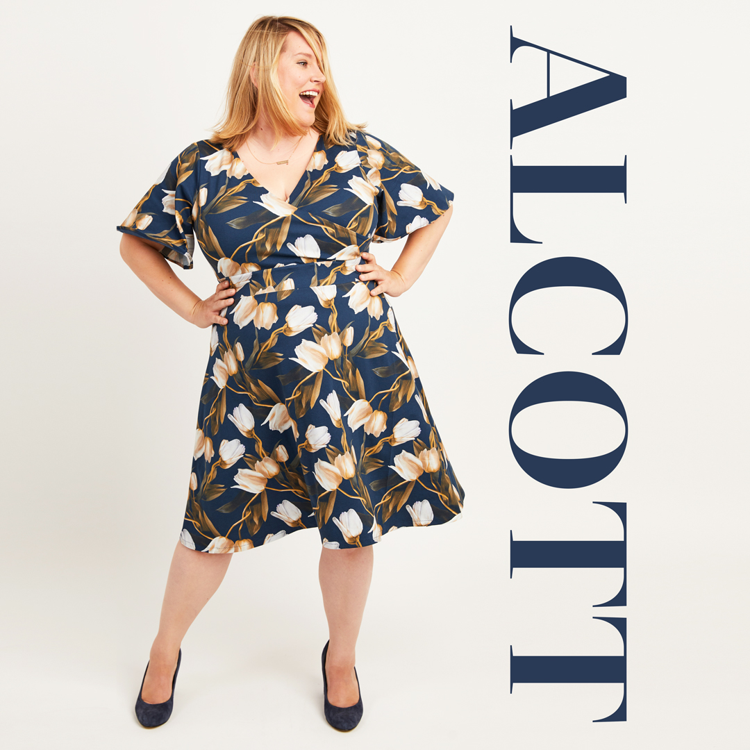 The Alcott Dress, a fixed-wrap dress sewing pattern